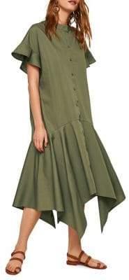 MANGO Asymmetrical Cotton Midi Dress