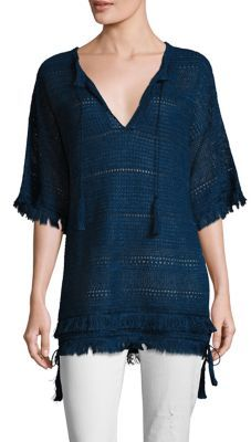 Polo Ralph Lauren Fringed Linen Tunic $398 thestylecure.com