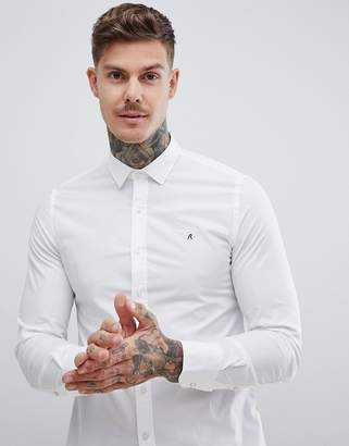 Replay slim stretch poplin shirt in white