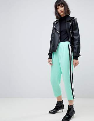 Asos Design Cropped Track Pant Pants with Side Tape