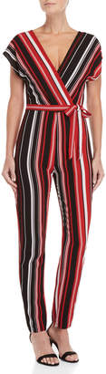 Almost Famous Vertical Stripe Crepe Jumpsuit