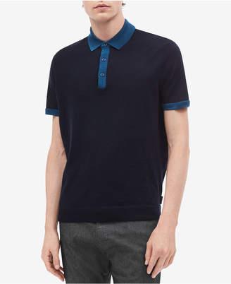 Calvin Klein Men Contrast-Collar Wool Polo