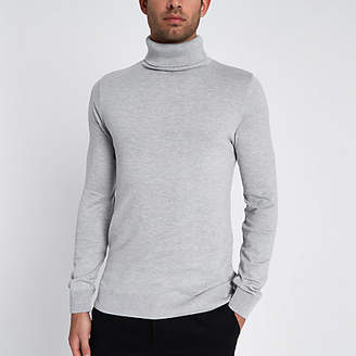 River Island Grey slim fit roll neck sweater
