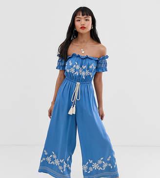 Asos DESIGN Petite off shoulder embroidery jumpsuit
