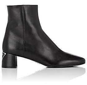 Prada Women's Logo-Heel Leather Ankle Boots - Nero