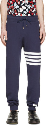 Thom Browne Navy Striped Classic Lounge Pants $490 thestylecure.com