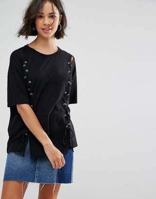 Pull&Bear Lace Up Front T-shirt