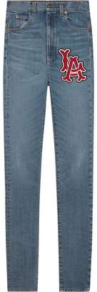 Gucci Skinny denim trousers with LA AngelsTM patch