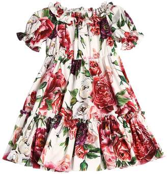 Dolce & Gabbana Rose Printed Cotton Poplin Dress