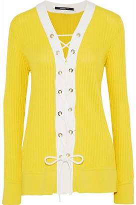 Derek Lam Lace-Up Ribbed Silk And Cotton-Blend Cardigan
