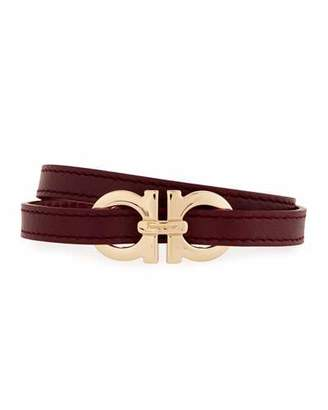 Salvatore Ferragamo Gancini Leather Wrap Bracelet, Wine $270 thestylecure.com