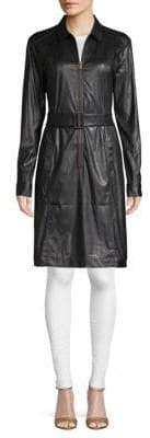 Tomas Maier Belted Faux Leather Dress