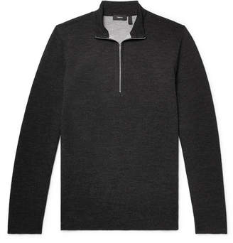 Theory Slim-fit Merino Wool-blend Half-zip Sweater - Charcoal