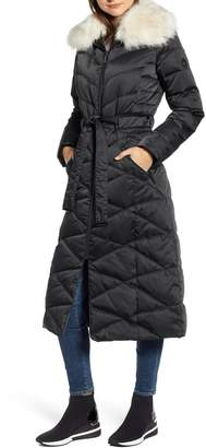 Bernardo Maxi Heavy Puffer Jacket with Faux Fur Trim