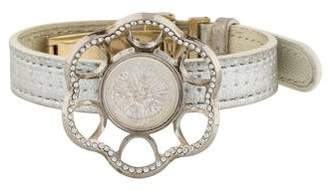 Lalique Crystal Chardon Leather Bracelet