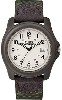 Timex Expedition Men's T49101 Quartz Camper Watch with Off-White Dial Analogue Display and Green/Brown Nylon/Leather Strap