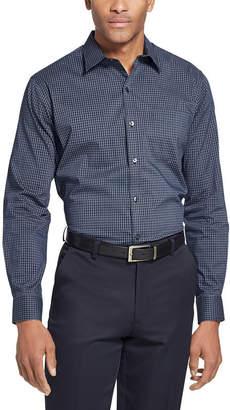 Van Heusen Traveler Long Sleeve Slim Stretch Shirt Long Sleeve Checked Button-Front Shirt-Slim