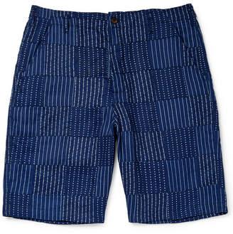 Universal Works Wide-Leg Panelled Indigo-Dyed Cotton Shorts