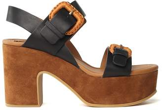 See by Chloe Rafia Suede And Leather Platform Sandals