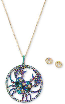 "Betsey Johnson Two-Tone Multi-Stone Cancer Zodiac Pendant Necklace & Stud Earrings Set, 21-1/2"" + 3"" extender"