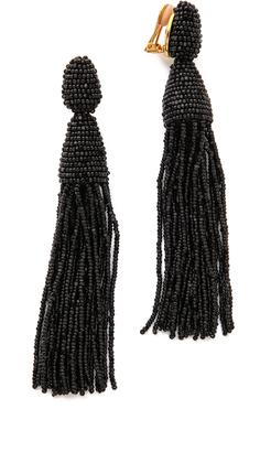 Oscar de la Renta Classic Long Tassel Earrings $395 thestylecure.com