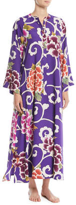 Natori Samarkand Zip-Front Floral Caftan