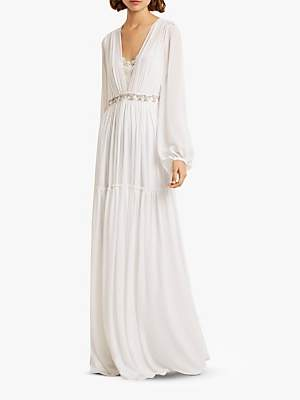 a4ff19068dc French Connection Alana Embellished Tiered Hem Dress, Linen White