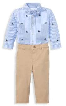 Ralph Lauren Boy's Two-Piece Striped Oxford Mesh Shirt& Stretch Chinos Set
