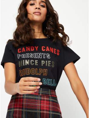 Bell Embellished List Slogan Christmas Top