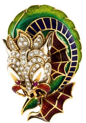 Dragon Optical 18K Diamond & Enamel Brooch