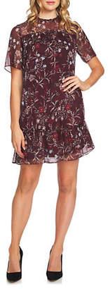 CeCe Scarlet Dream Floral Mystery Ruffled Shift Dress