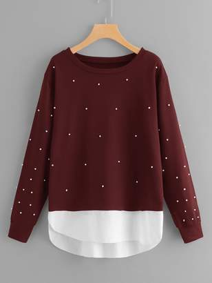 Shein Plus Beaded Decoration Sweatshirt