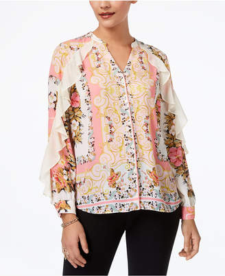 Thalia Sodi Printed Ruffled Blouse, Created for Macy's