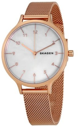 Skagen Women's SKW2633 Anita MOP Dial Rose Gold Mesh Bracelet Watch