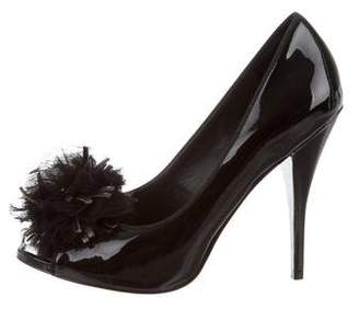 Saks Fifth Avenue Pom-Pom Peep-Toe Pumps