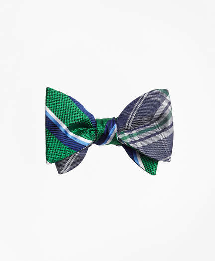 Brooks Brothers Sidewheeler Double Stripe with Plaid Reversible Bow Tie