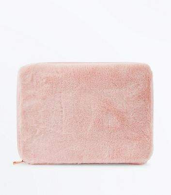 Pale Pink Faux Fur Laptop Case