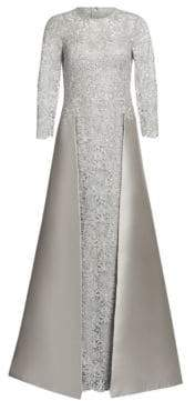 Teri Jon by Rickie Freeman by Rickie Freeman Women's Embellished Floral Lace& Gazar Gown - Silver - Size 2