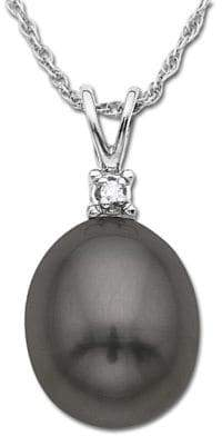 Lord & Taylor Black Freshwater Pearl Pendant with Diamond Accent in 14 Kt. White Gold 8MM