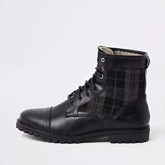 River Island Dark grey leather check insert military boots