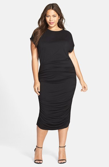 Vince Camuto Plus Size Women's Side Ruched Jersey Midi Dress