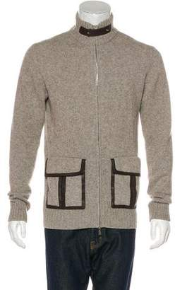 Hermes Leather-Trimmed Zip-Up Sweater
