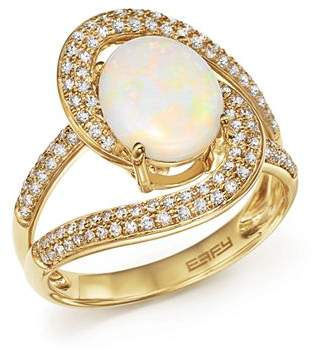 Bloomingdale's Oval Opal and Pavé Diamond Ring in 14K Yellow Gold