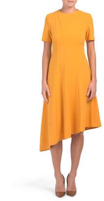 Short Sleeve Asymmetrical Hem Dress