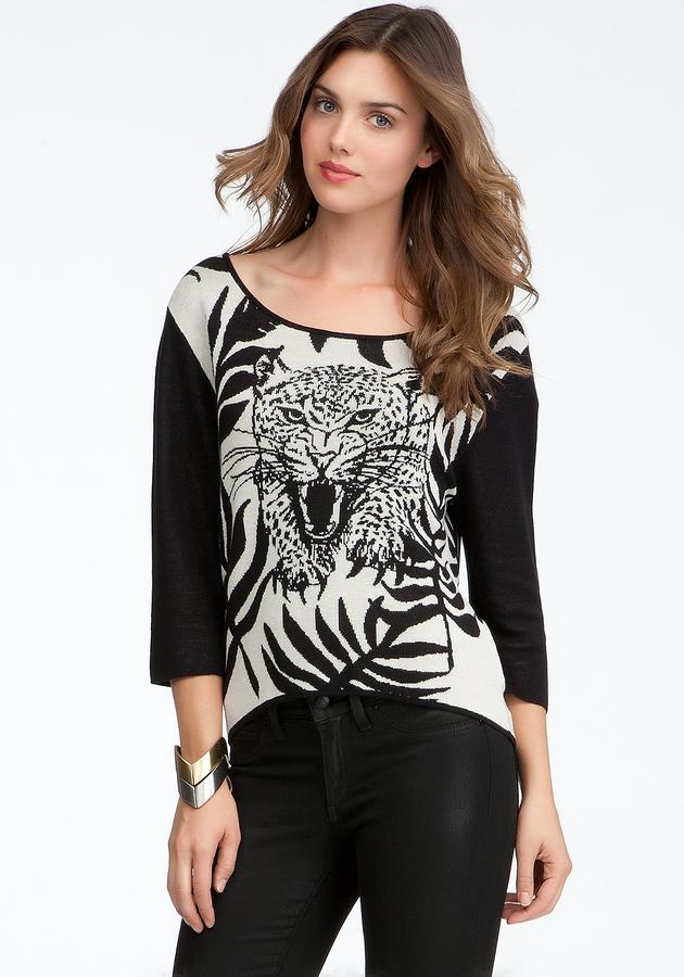 Bebe Tiger Jacquard Sweater