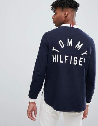 Tommy Hilfiger stand collar back logo applique rugby long sleeve relaxed fit in navy