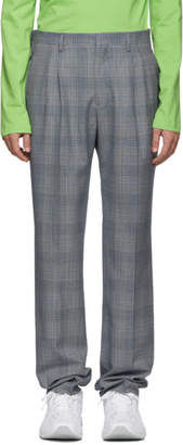 Calvin Klein White and Navy Glen Plaid Trousers