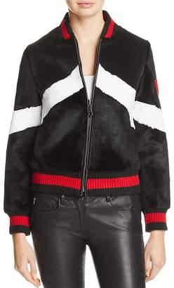 Jocelyn Rabbit Fur Baseball Jacket $695 thestylecure.com