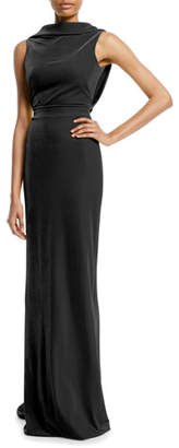 Brandon Maxwell Sleeveless Drape-Back Column Evening Gown