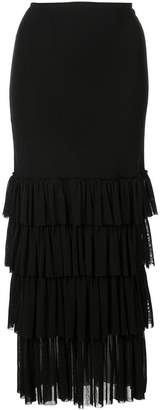 Fuzzi cascading skirt one-shoulder dress